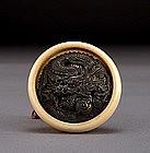 Japanese Ivory Bronze Manju Netsuke Dragon
