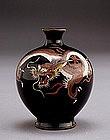 Old Japanese Navy Blue Cloisonne Dragon Vase