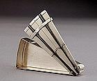 Meiji Japanese Silver Fan Incense Kogo Box Sg