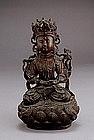 18C Chinese Bronze Seated Buddha Quan Yin