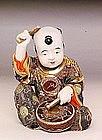 Old Japanese Kutani Child Play Drum Figure
