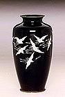 Lg Old Japanese Cloisonne Vase 8 Crane Sato
