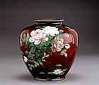 Japanese Cloisonne Pigeon Blood Vase Koi Fish