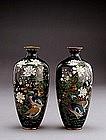 2 Meiji Japanese Cloisonne Bird Flower Vase