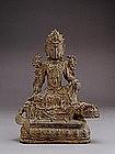 17C Chinese Bronze Buddha Quan Yin Ride Beast