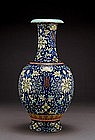 Lg 19C Chinese Enamel Famille Rose Vase Mk