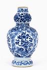 18C Chinese Blue & White Gourd Vase  Kangxi Mk
