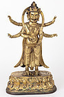 Sino-Tibetan Gilt Bronze Figure of Buddhist Diety
