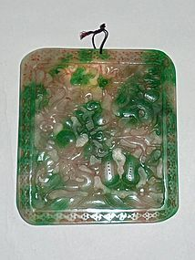 A Rare Antique Jade/Jadeite Plague with Hand-Carved Archaic Dragon-Pho