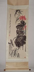 Red Lotus-Flowers with Ink-Painted Leaves by Qi Baishi (1864-1957)