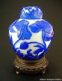 Antique Chinese Peking Glass Lidded Jar QIANLONG Mark