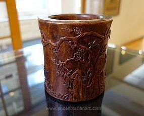 Chinese Scholar Zitan Wood Brush Pot - 19th Century