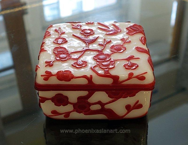 Chinese Hand Carved Overlay Peking Glass Box