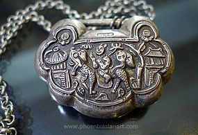 Antique Chinese Silver Repousse Lock Pendant - 19th Century