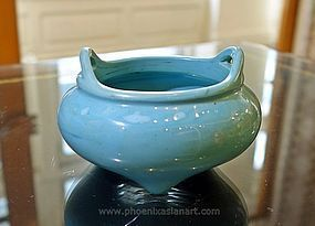 Antique Chinese Turquoise Blue Glass Censer - 18th Century