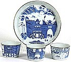 Assembled Chinese Porcelain Blue & White Tray & Cup Set