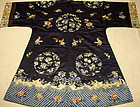 ANTIQUE CHINESE SILK EMBROIDERED LADIES ROBE 19TH C