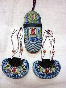 Set of 3 Silk Embroidery Eye-glass Case & Purses
