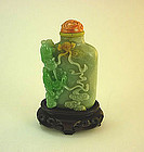 Chinese Carved Jade Jadeite Snuff Bottle Shi Shi