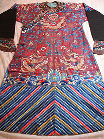 Chinese Imperial Silk Embroidery Dragon Robe c 1890