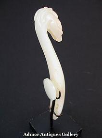 Antique Chinese White Jade Belt Hook 19th Century