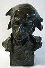 19th C. Bronze Bust of Voltaire, Signed H. Muller
