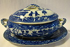 Child's Blue & White Tureen, Japan, Perfect for Doll