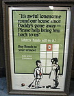Scarce Framed WWI Buy Bonds Poster