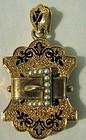Gorgeous Victorian 18K Rose Gold, Enamel, Pearl Locket