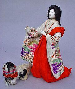 Antique Japanese Chinbiki Doll, Court Lady and Chin Dog
