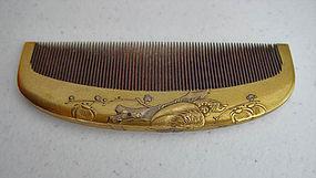 Antique Kanzashi Wood Hair Comb, Makie, Mandarin Ducks