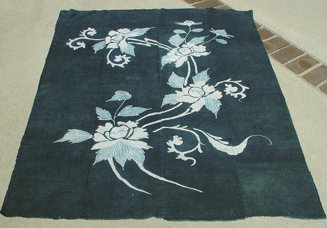 Japanese Indigo Dyed Cotton Futon Panel, Tsutsugaki