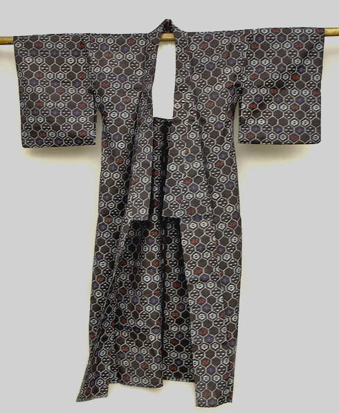 Japanese Cotton Kasuri Kimono, Geometric Kikko Design