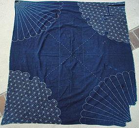 Antique Furoshiki Japanese Wrapping Cloth with Sashiko