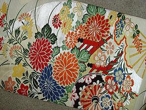 Japanese Summer Silk Obi, Flowers Fans in vivid colors