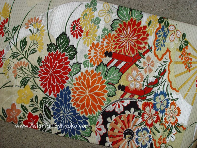 Japanese Summer Silk Obi, Flowers Fans in vivid colors