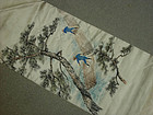 Japanese Silk Obi, Art Painting, Lumber Rafters, Signed
