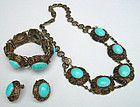 Vintage Chinese Silver Filigree Turquoise Necklace Set