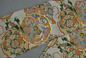 Formal Japanese Silk Obi, Old Mirrors in Nishijin Obi