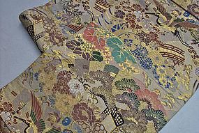 Old Nishijin Silk Obi - tanned color