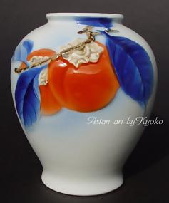 Japanese Fukagawa Porcelain Vase with Persimmons