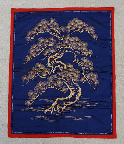 Japanese Antique Fukusa Gift Cover: Gold Pine