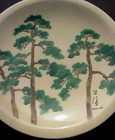 Japanese Ceramic Plate, Hand Painted Pines Wall Hanging