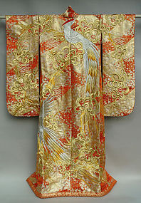 Japanese Wedding Gown, Red and Gold  with Silver Bird