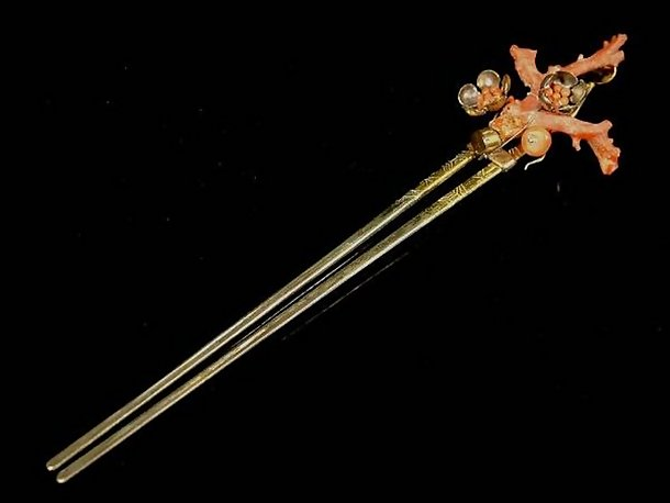 Japanese Antique Kanzashi Hairpin with Large Red Coral
