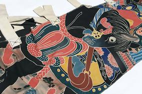 Antique Nobori Banner: Samurai Horse and Gold Gourd