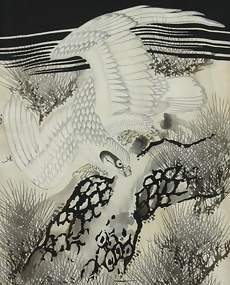Baby's Antique Black Kimono, Falcon on a Pine Tree