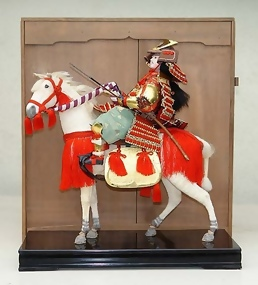 Large Antique Japanese Doll, Samurai on White Horse