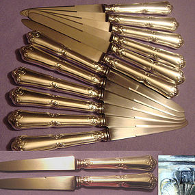 12 FRENCH LUNCH / ENTREMET KNIVES, SILVERPLATE