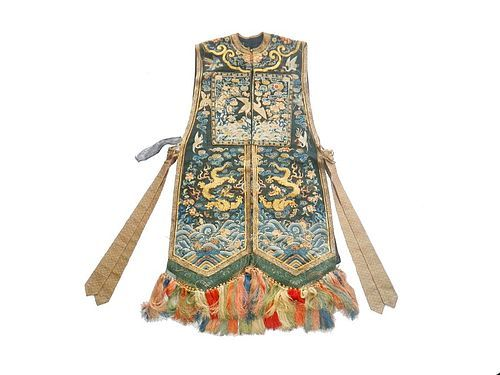 An 18th Century Antique Chinese Embroidered Silk Dragon Robe